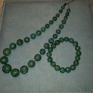 Genuine Turquoise and Sterling Silver Set